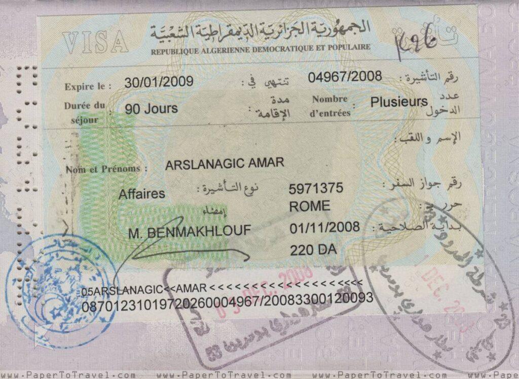 1110 Visa for Algeria 2008 A Comprehensive Guide to Algerian Visa Application 2021