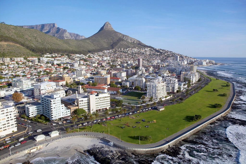 Aerial View of Sea Point Cape Town South Africa Africa In Recovery Mood After The Disaster Of Covid 19 On Tourism
