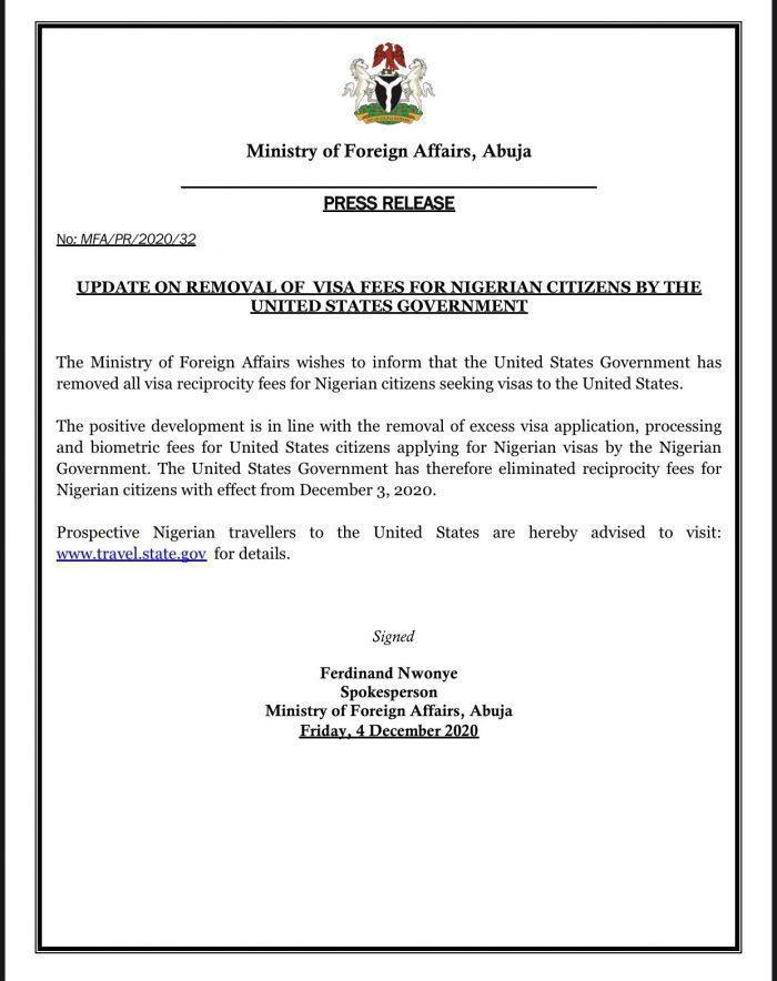 Reciprocity fee for Nigerian citizens