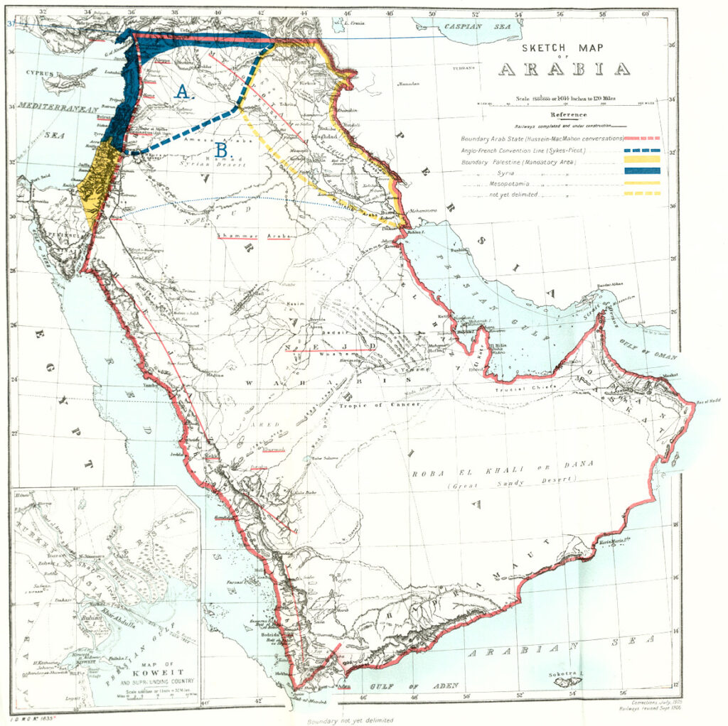 Middle East in 1921 UK Government map Cab24 120 cp21 2607 cropped Religious Diversity; Top 10 Most Religiously Diverse Countries.