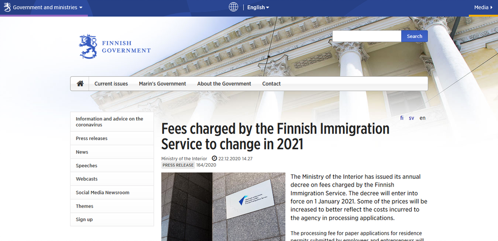 Screenshot 2021 01 07 Fees charged by the Finnish Immigration Service to change in 2021 Finland announce Rise In Immigration Operational Costs For 2021