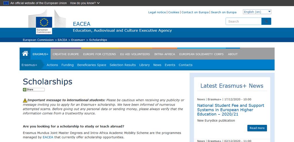 Screenshot 2021 01 07 Scholarships EACEA European Commission1 1 BREXIT: Erasmus Scholarships No Longer Eligible For United Kingdom Students