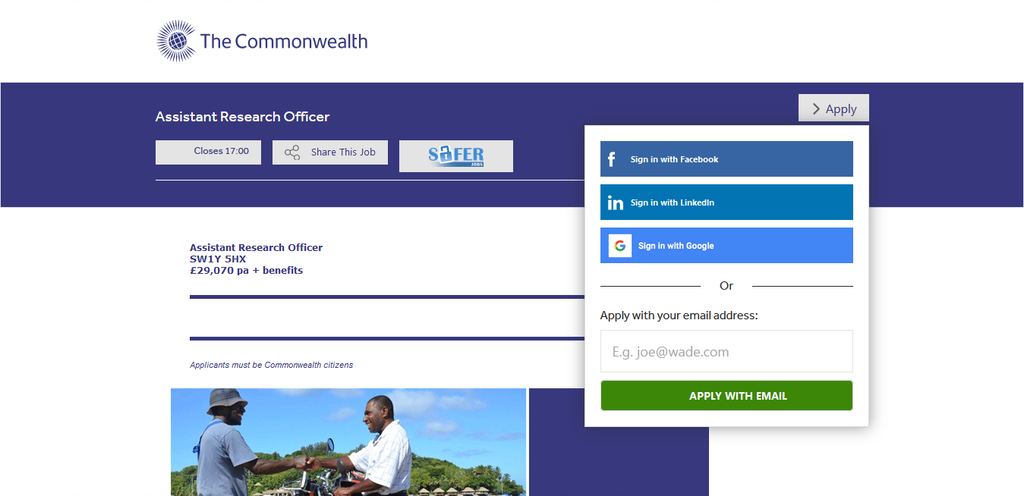 Screenshot 2021 01 11 Assistant Research Officer SW1Y 5HX Application For The Initiative For Young Professionals Out Now