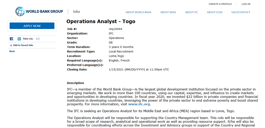 Screenshot 2021 01 12 Now hiring Operations Analyst Togo 1 1 Apply For The 2021 Operations Analyst Internship Position