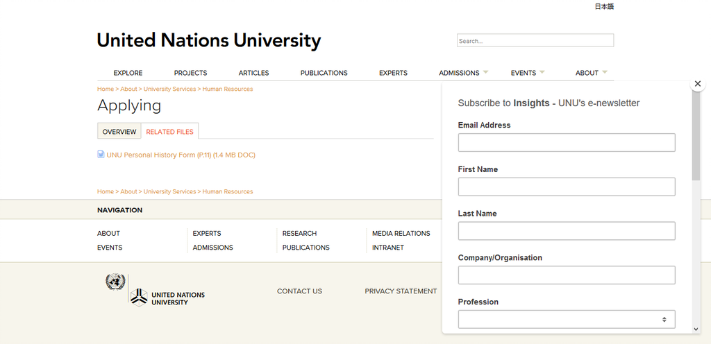 Screenshot 2021 01 13 Applying United Nations University Out Now, The UNU-BIOLAC Data Entry And Curation Internship 2021