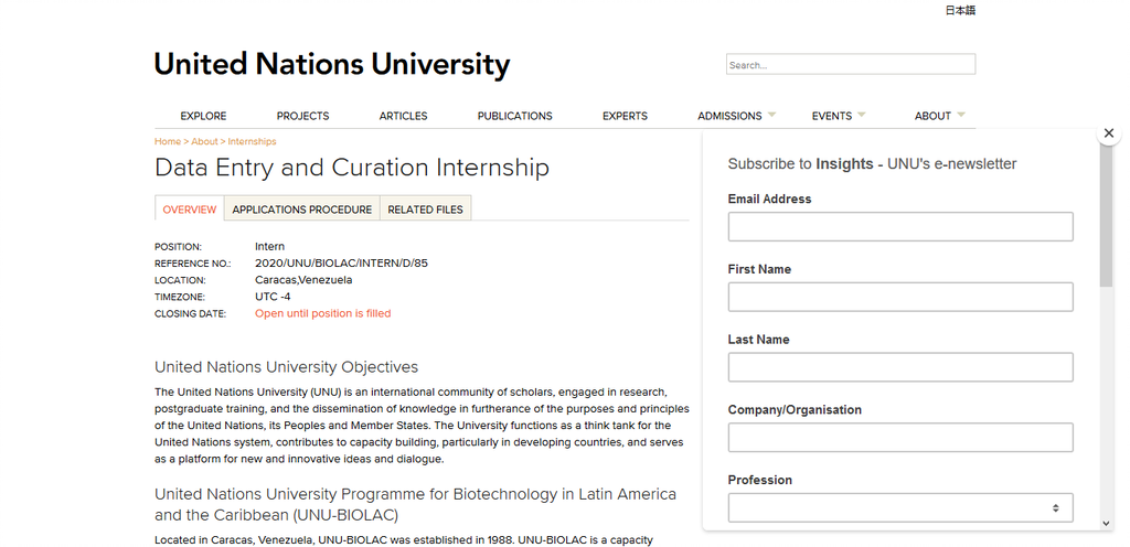 Screenshot 2021 01 13 Data Entry and Curation Internship United Nations University Out Now, The UNU-BIOLAC Data Entry And Curation Internship 2021