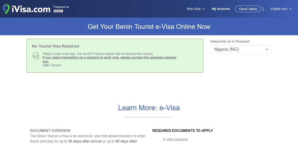 Screenshot 2021 01 14 Benin Travel Visa e Visas Online iVisa An Extensive Guide To Benin Republic Visa Applications