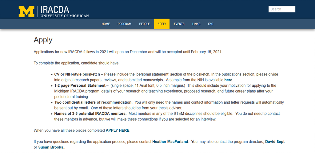 Screenshot 2021 01 15 Apply – Institutional Research and Academic Career Development Award IRACDA Post Doctoral Program The Application For University Of Michigan Institutional Research And Academic Career Development Award (IRACDA) For Postdoctoral Program Is Ongoing