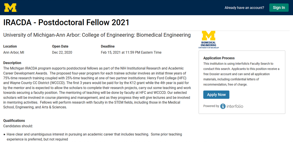 Screenshot 2021 01 15 Apply Interfolio The Application For University Of Michigan Institutional Research And Academic Career Development Award (IRACDA) For Postdoctoral Program Is Ongoing