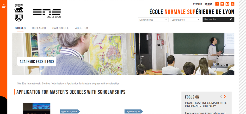 Screenshot 2021 01 18 Application for Masters degrees with scholarships Site Ens international 1 Application For The Ongoing Scholarships At Higher Normal School In France For The 2021 Academic Session