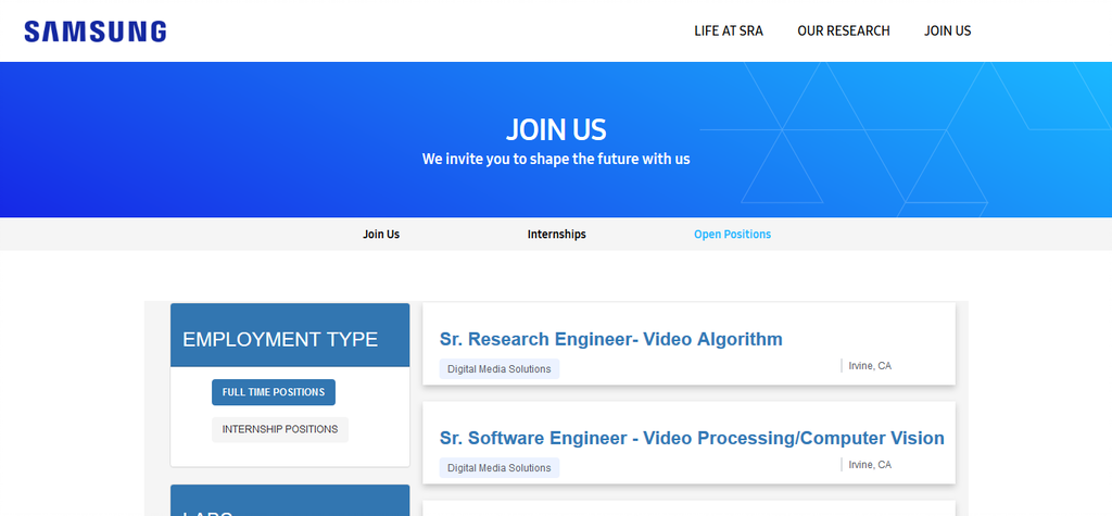 Screenshot 2021 01 18 Open Positions – Samsung 2 Application For 2021 Artificial Intelligence Of Computer Graphics Engineer Internship At Samsung Is Ongoing