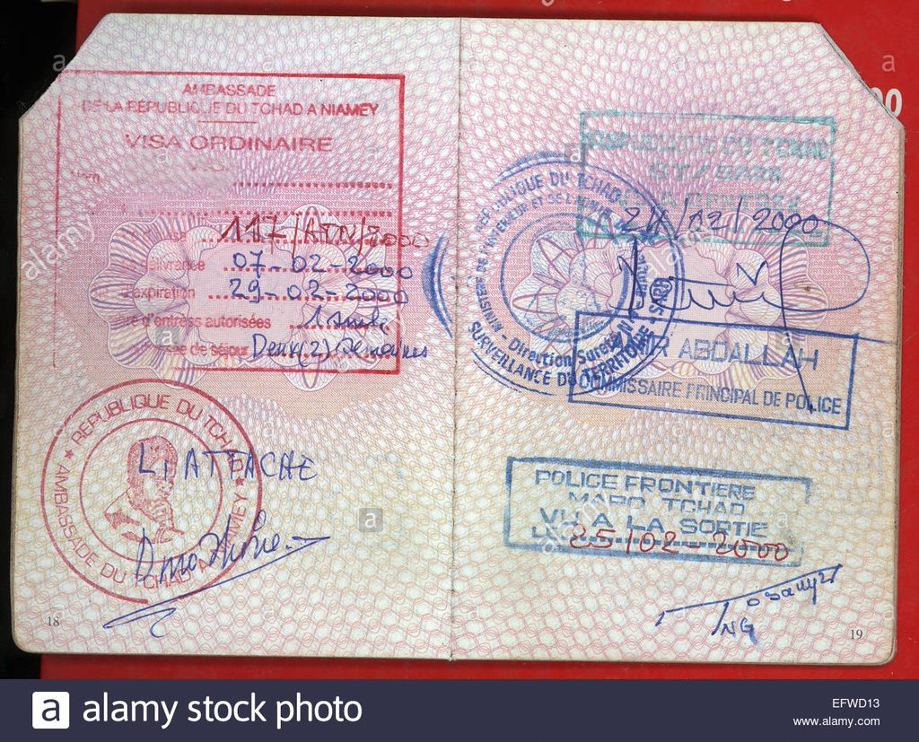 visa visas passport stamps republic of chad central africa republique EFWD13 A Complete Guide to Chad Visa Applications